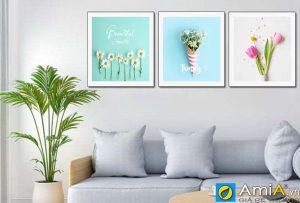 Tranh bộ canvas hoa treo phòng khách hiện đại amia 919084