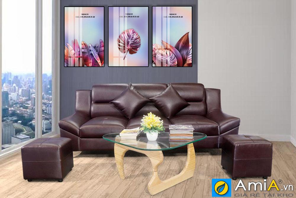 Tranh bộ canvas lá cây màu tím treo phòng khách amia CV261