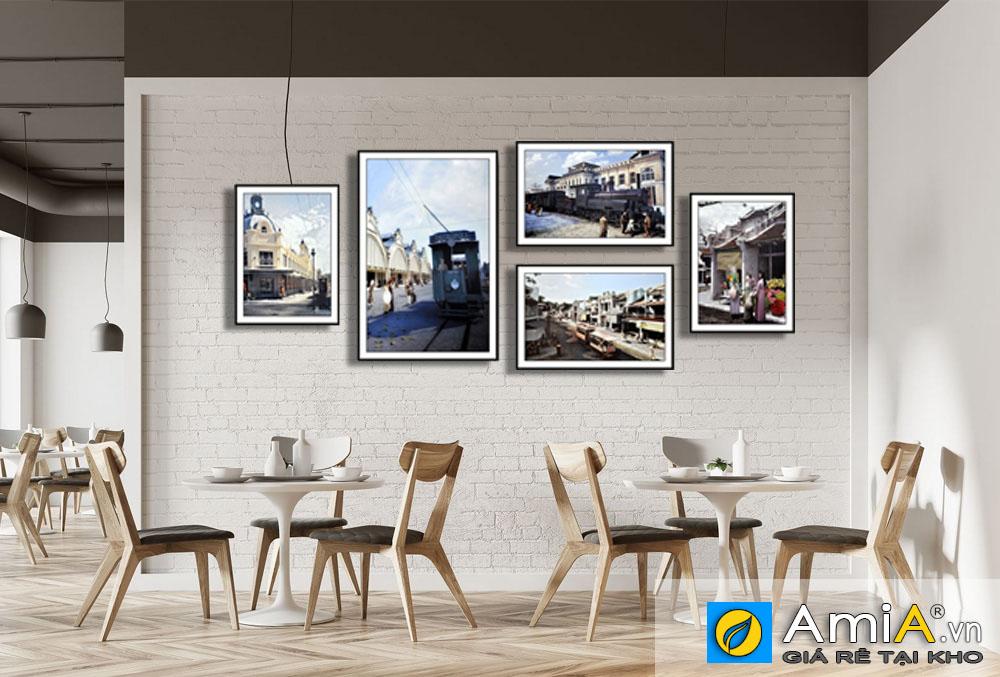 Tranh bộ canvas phố cổ Hà Nội treo quán Cafe hiện đại AmiA 1796