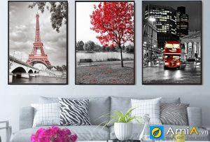 Tranh bộ canvas phong cảnh Châu Âu đẹp treo tường amia CV102