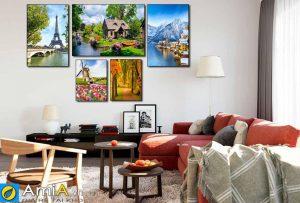 Tranh bộ canvas phong cách châu âu treo phòng khách hiện đại amia 1829