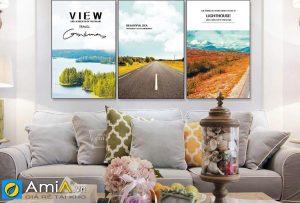 Tranh bộ canvas phong cảnh đẹp treo phòng khách hiện đại AmiA 919025