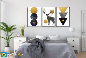 Tranh bộ canvas treo phòng ngủ hiện đại amia 919019
