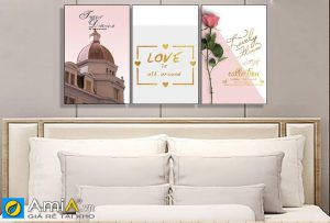 Tranh bộ canvas treo phòng ngủ lãng mạn amia 919052