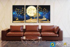 Tranh bộ canvas treo tường phòng khách hiện đại khu rừng vàng amia 1724