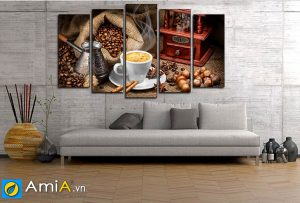 Tranh trang trí tường trong quán cafe hiện đại amia 1824
