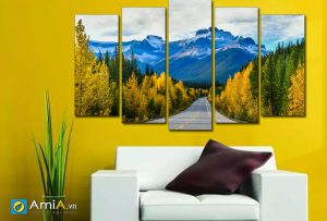 Tranh cánh đồi núi mùa thu treo tường đẹp Amia 1682