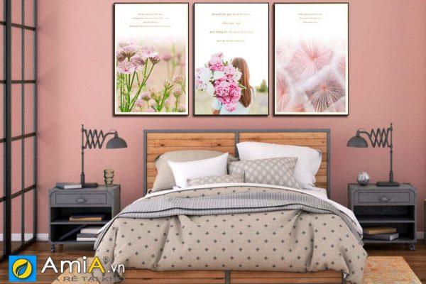 Tranh canvas cô gái hoa treo phòng ngủ nhẹ nhàng amia 1839