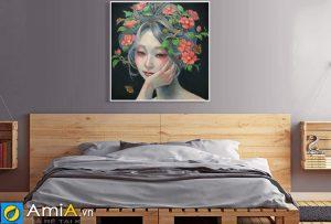 Tranh canvas cô gái treo tường phòng ngủ đẹp amia CV110