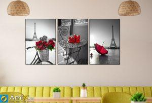 Tranh canvas hoa hồng tháp Eiffel Amia 1684