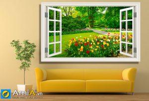 Tranh cửa sổ nhìn ra rừng hoa đẹp amia 1822