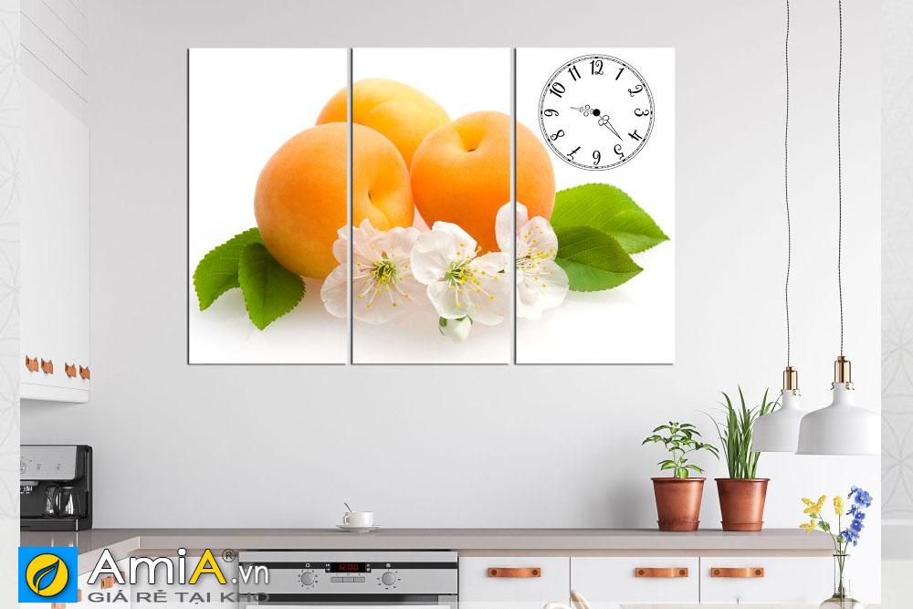 Tranh đồng hồ hoa quả ghép bộ amia HQ112