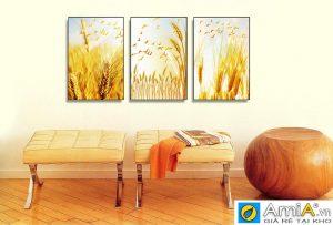 Tranh ghép bộ canvas bông lúa vàng Amia 1637