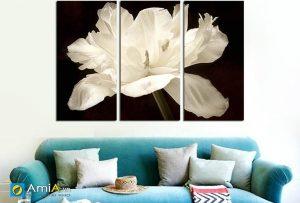 Tranh hoa nghệ thuật ghép bộ treo phòng khách hiện đại amia 1502
