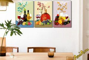 Tranh hoa quả ghép bộ trang trí phòng ăn hiện đại AmiA 1725. Mẫu tranh kích thích vị giác cho giả chủ khi ngắm nhìn