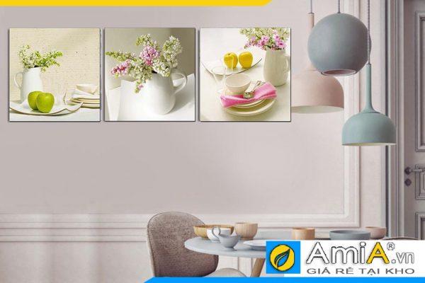 Tranh hoa quả màu sắc nhẹ nhàng trang trí phòng ăn amia 1088