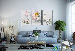 tranh hoa sen treo phòng khách hiện đại amia 1729