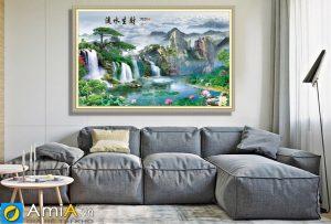 Tranh khổ lớn sơn thủy hữu tình treo tường phòng khách rộng amia 1819B