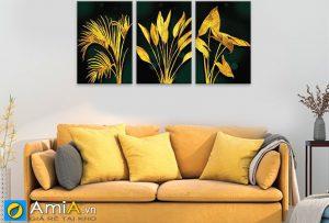Tranh lá cây vàng ánh kim treo phòng khách sang trọng amia 919041