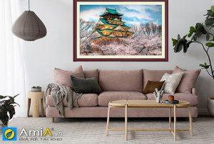 Tranh phong cảnh Nhật Bản khổ lớn treo tường phòng khách Amia 1619