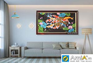 Tranh sơn dầu cá chép hoa sen treo phòng khách Amia TSD207