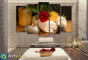 Tranh treo spa hiện đại hoa hồng nền đá amia SP52A