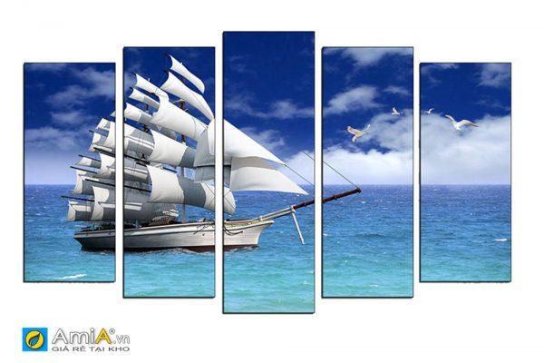 Tranh thuyền buồm ghép bộ hiện đại Amia 1801