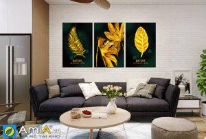 Tranh treo phòng khách lá cây màu vàng sang trọng amia 1695