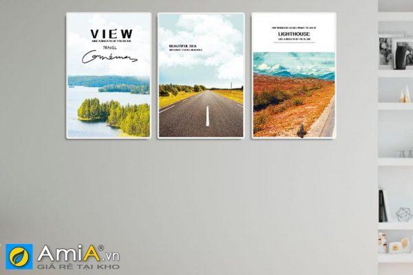 Tranh treo tường ghép bộ hiện đại canvas cảnh thiên nhiên và con đường AmiA 919025