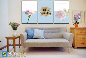 Tranh treo tường phòng khách hiện đại bộ canvas hoa amia 1838