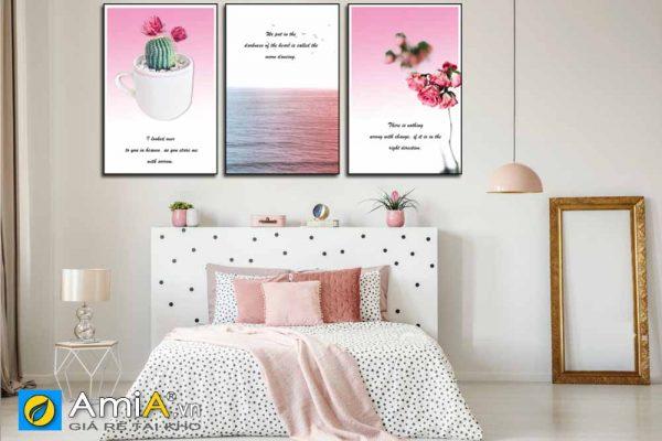 Tranh treo tường phòng ngủ hiện đại màu hồng amia 1835