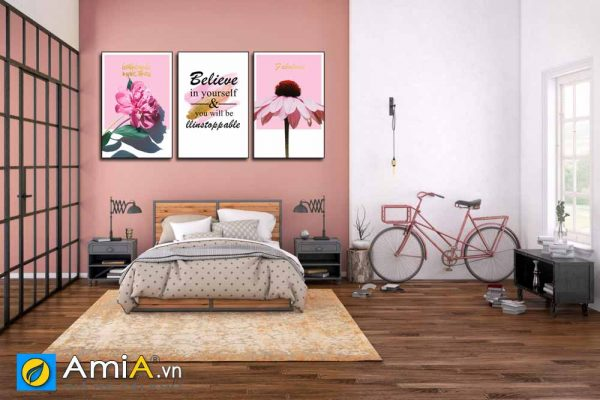 Tranh treo tường phòng ngủ màu hồng lãng mạn amia 1834