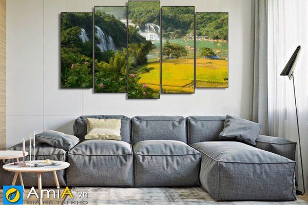 Tranh treo tường thác bản giốc trang trí phòng khách hiện đại amia BG120