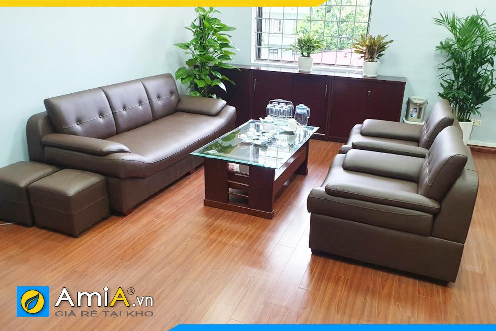 bộ ghế sofa da giá rẻ Amia203