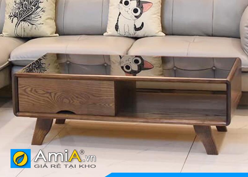 bàn trà sofa gỗ sồi tự nhiên mặt kính BTR0420