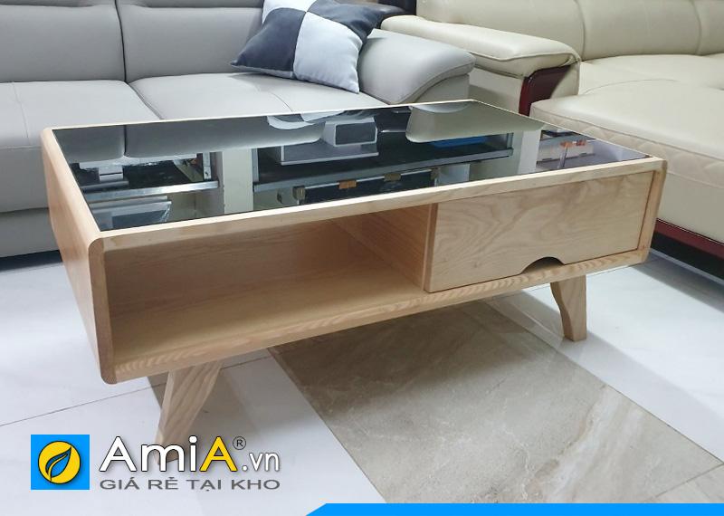 bàn trà sofa mặt kính gỗ sồi