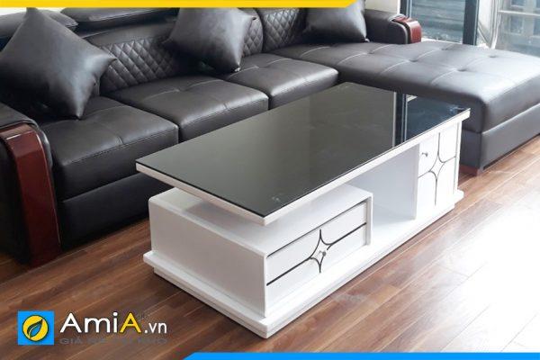bàn sofa gỗ mặt kính giá rẻ BTR0220