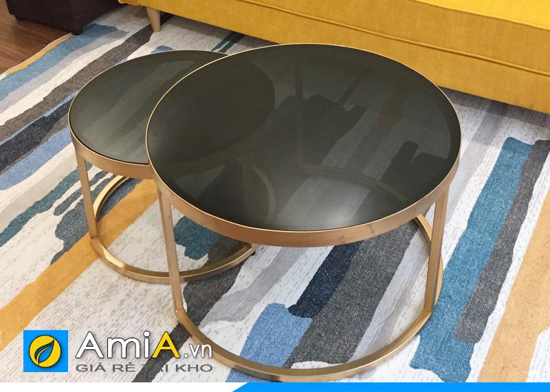 Mẫu bàn trà đôi mặt kính BTR165