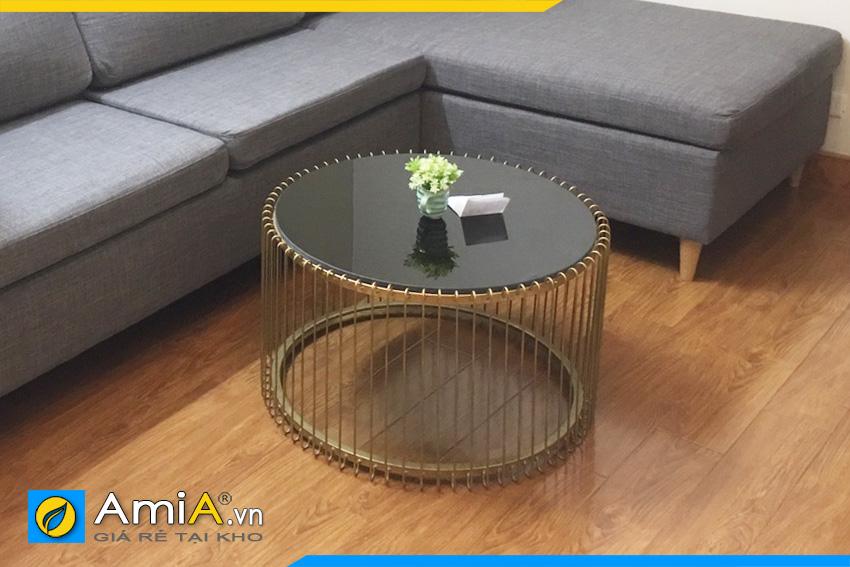 bàn trà khung nan sắt hình tròn