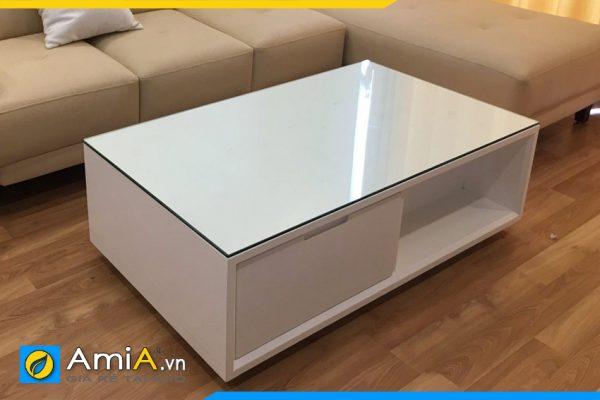 bàn trà sofa màu trắng mặt kính BTR0820