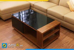 bàn trà sofa vân gỗ mặt kính BTR156