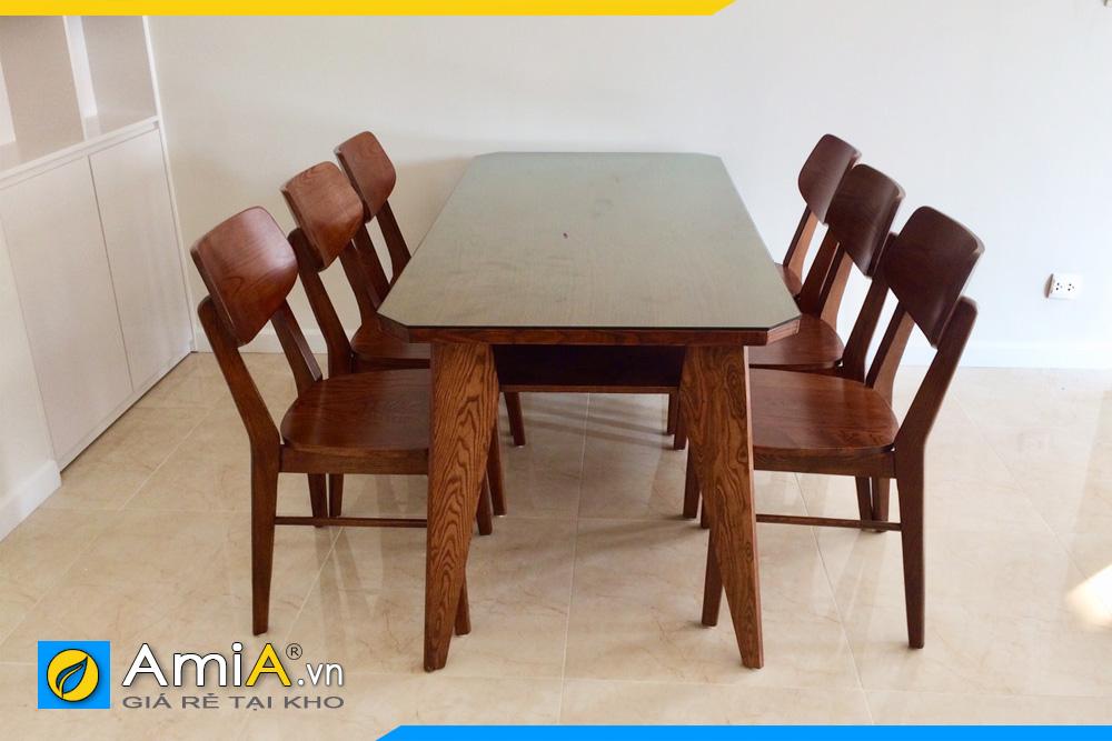 bàn ăn 6 ghế gỗ sồi giá rẻ