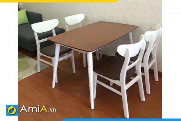bàn ăn nhỏ 4 ghế trắng nâu BA025