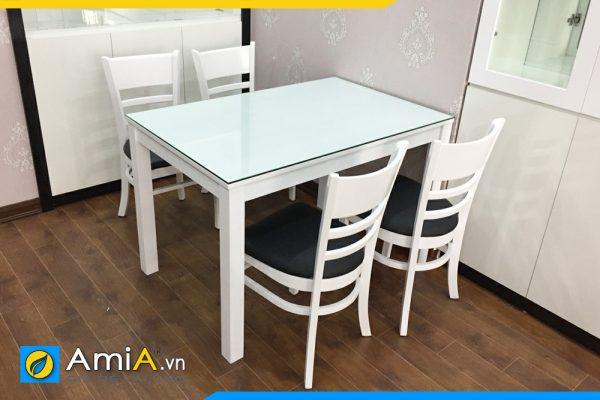 Bộ bàn ăn đẹp 4 ghế màu trắng đen