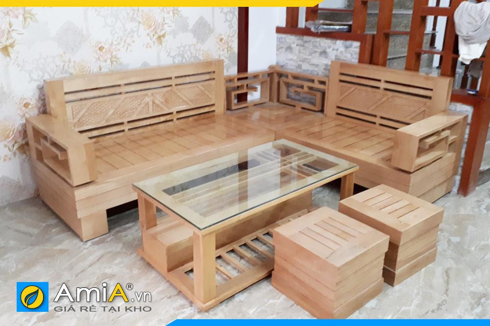 bộ bàn ghế sofa gỗ sồi giá rẻ SFG011