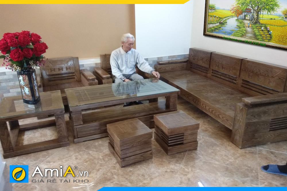 sofa phòng khách gỗ tự nhiên