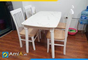 bộ bàn ăn mặt đá đẹp 4 ghế
