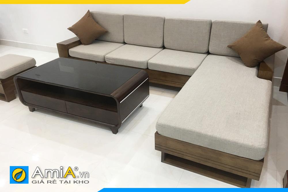 Bộ ghế sofa gỗ sồi cho phòng khách nhà phố