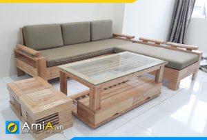 Bộ ghế sofa gỗ sồi kích thước nhỏ gọn