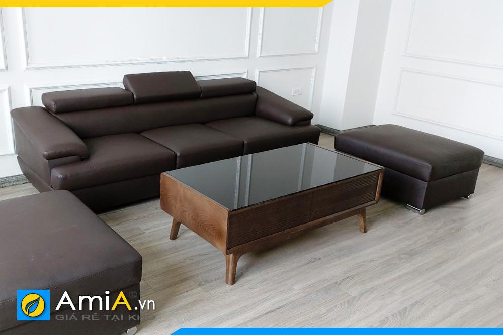 sofa văng 3 chỗ ngồi chất liệu da